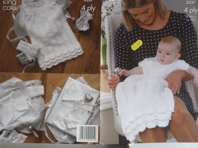 Christening outfit pattern in 4 ply 3537
