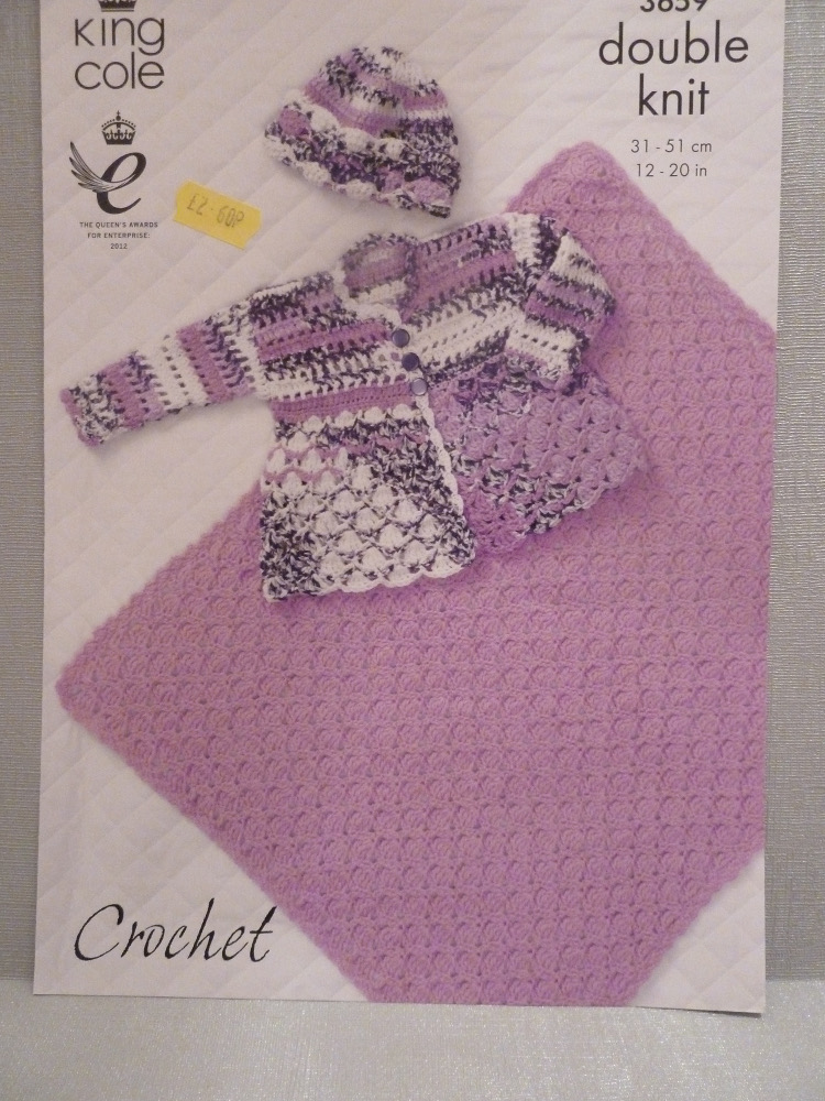King Cole Crochet babies  pattern 3659 with blanket