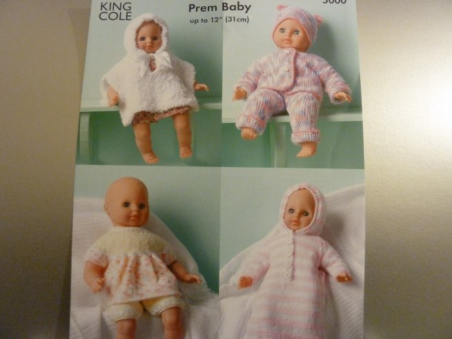 King Cole dolls/prem baby knitting pattern 5000